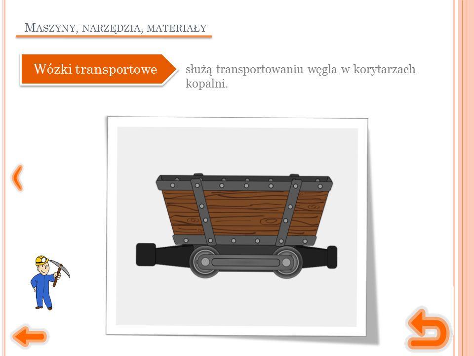 M ASZYNY, NARZĘDZIA, MATERIAŁY służą transportowaniu węgla w korytarzach kopalni.