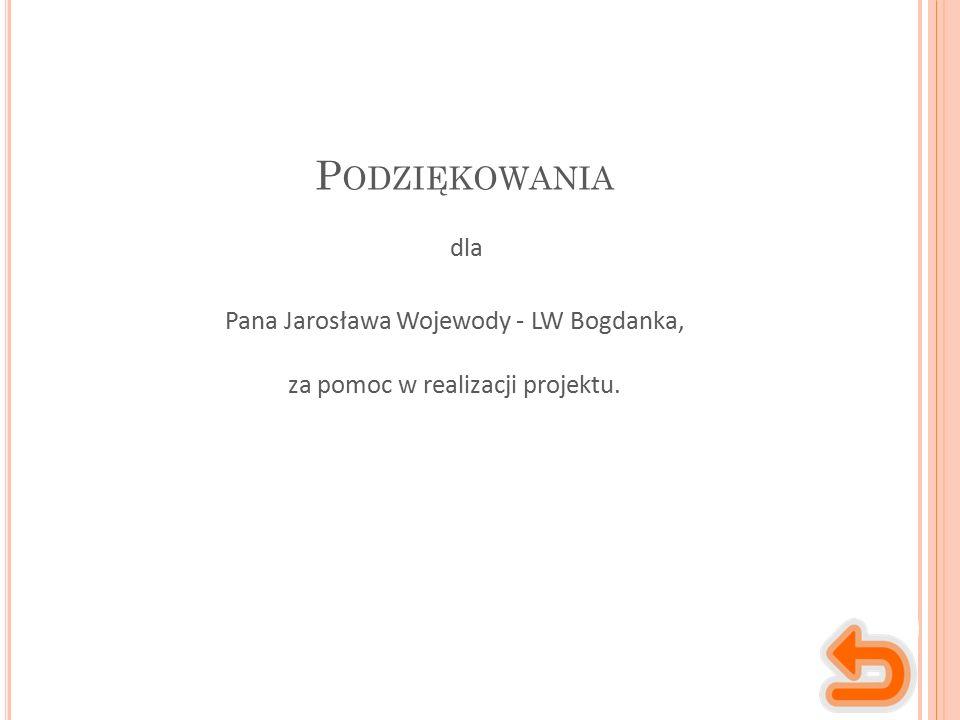 P ODZIĘKOWANIA Pana Jarosława Wojewody - LW Bogdanka, za pomoc w realizacji projektu. dla
