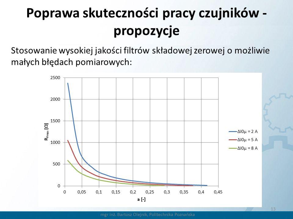 13 Poprawa skuteczności pracy czujników - propozycje Stosowanie wysokiej jakości filtrów składowej zerowej o możliwie małych błędach pomiarowych: