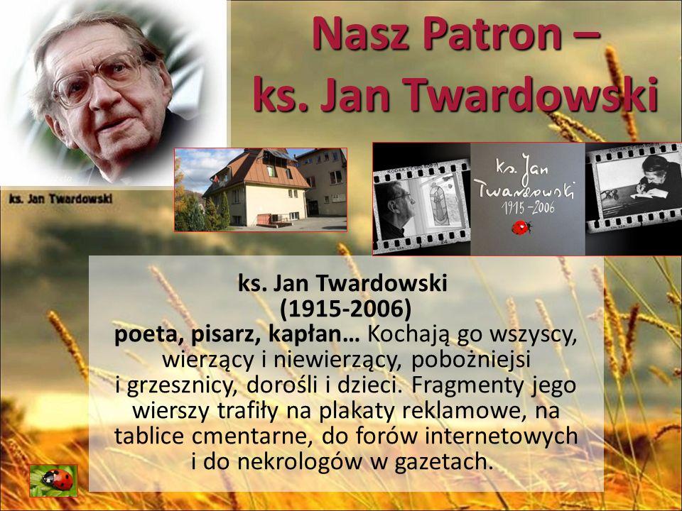 Nasz Patron – ks.Jan Twardowski Uczęszczał do gimnazjum im.