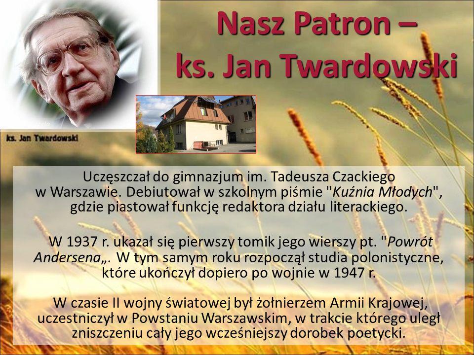 Nasz Patron – ks. Jan Twardowski Uczęszczał do gimnazjum im.