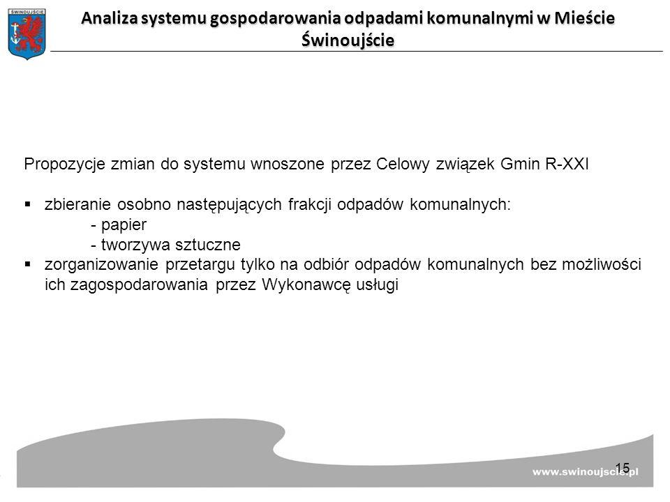 Propozycje zmian do systemu wnoszone przez Celowy związek Gmin R-XXI  zbieranie osobno następujących frakcji odpadów komunalnych: - papier - tworzywa