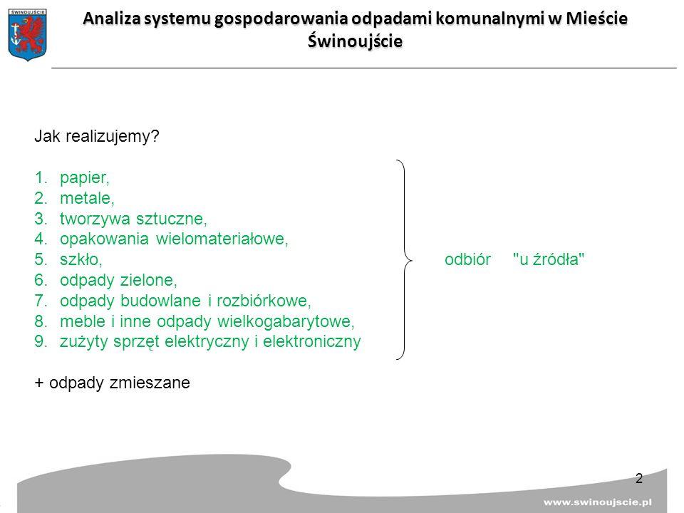 Analiza systemu gospodarowania odpadami komunalnymi w Mieście Świnoujście Jak realizujemy? 1.papier, 2.metale, 3.tworzywa sztuczne, 4.opakowania wielo