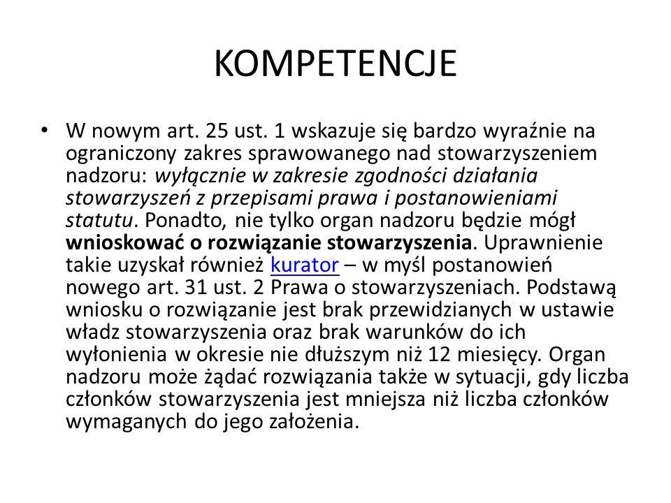 KOMPETENCJE W nowym art.25 ust.