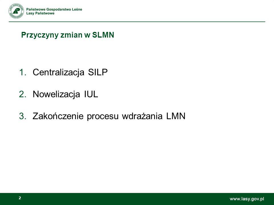 2 Przyczyny zmian w SLMN 1.Centralizacja SILP 2.Nowelizacja IUL 3.Zakończenie procesu wdrażania LMN