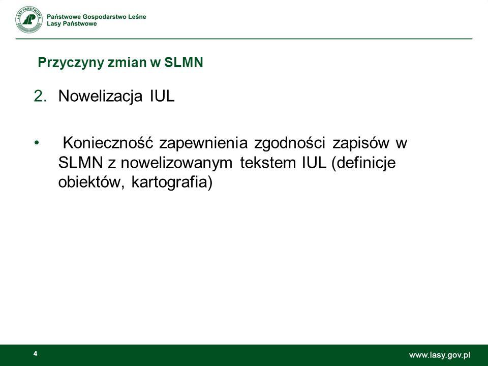 4 Przyczyny zmian w SLMN 2.Nowelizacja IUL Konieczność zapewnienia zgodności zapisów w SLMN z nowelizowanym tekstem IUL (definicje obiektów, kartografia)