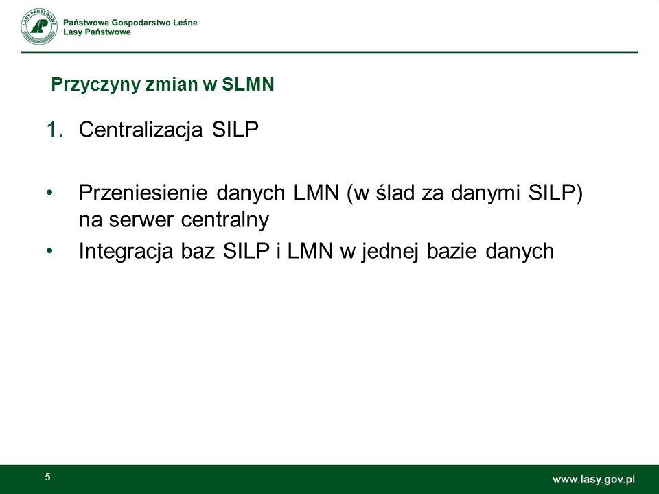 5 Przyczyny zmian w SLMN 1.Centralizacja SILP Przeniesienie danych LMN (w ślad za danymi SILP) na serwer centralny Integracja baz SILP i LMN w jednej bazie danych