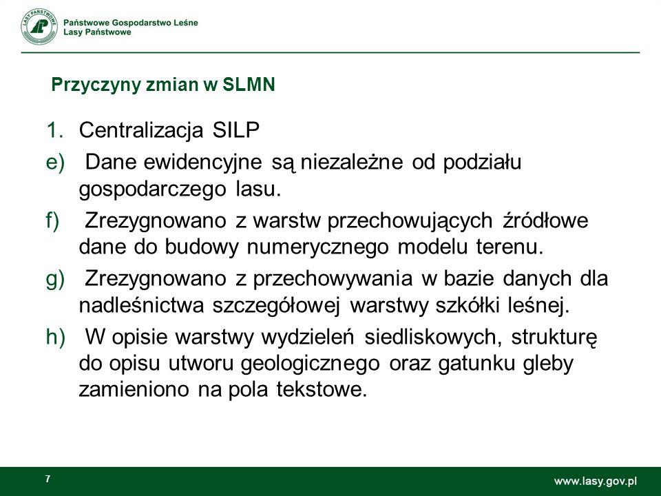 7 Przyczyny zmian w SLMN 1.Centralizacja SILP e) Dane ewidencyjne są niezależne od podziału gospodarczego lasu.