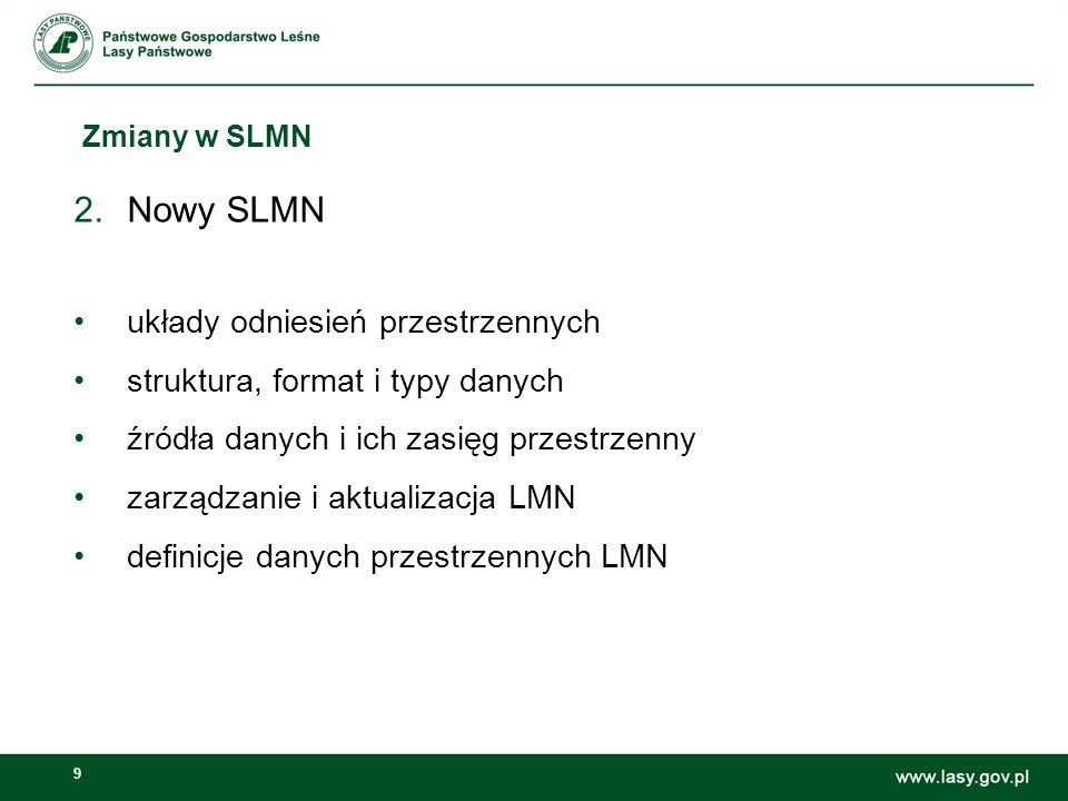 9 Zmiany w SLMN 2.Nowy SLMN układy odniesień przestrzennych struktura, format i typy danych źródła danych i ich zasięg przestrzenny zarządzanie i aktualizacja LMN definicje danych przestrzennych LMN