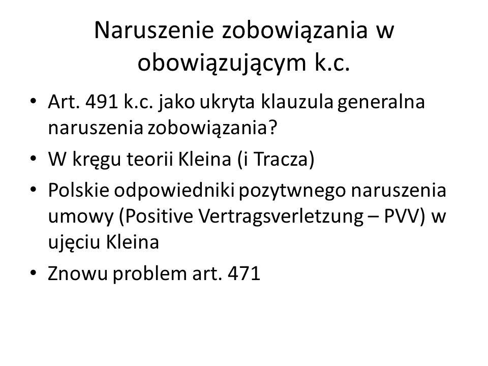 Naruszenie zobowiązania w obowiązującym k.c. Art.