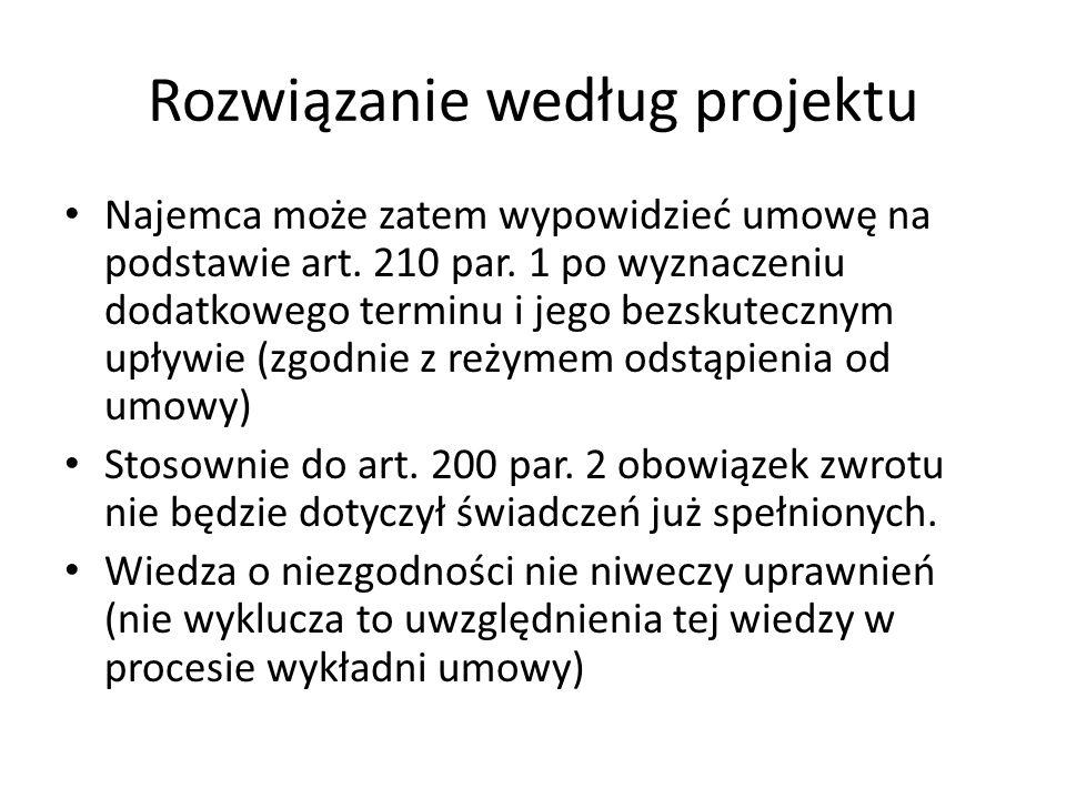 Rozwiązanie według projektu Najemca może zatem wypowidzieć umowę na podstawie art.