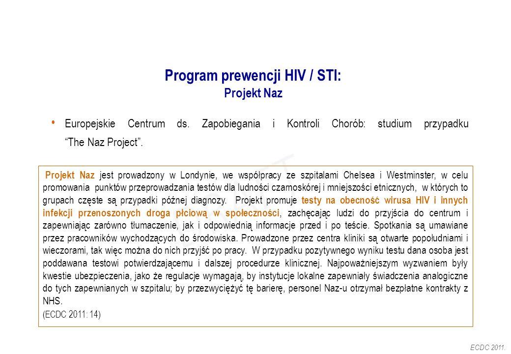 """Program prewencji HIV / STI: Projekt Naz Europejskie Centrum ds. Zapobiegania i Kontroli Chorób: studium przypadku """"The Naz Project"""". Projekt Naz jest"""