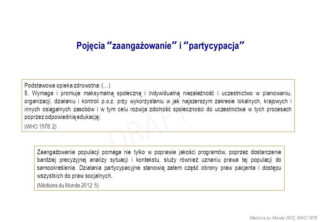 """Pojęcia """"zaangażowanie"""" i """"partycypacja"""" Podstawowa opieka zdrowotna: (…) 5. Wymaga i promuje maksymalną społeczną i indywidualną niezależność i uczes"""