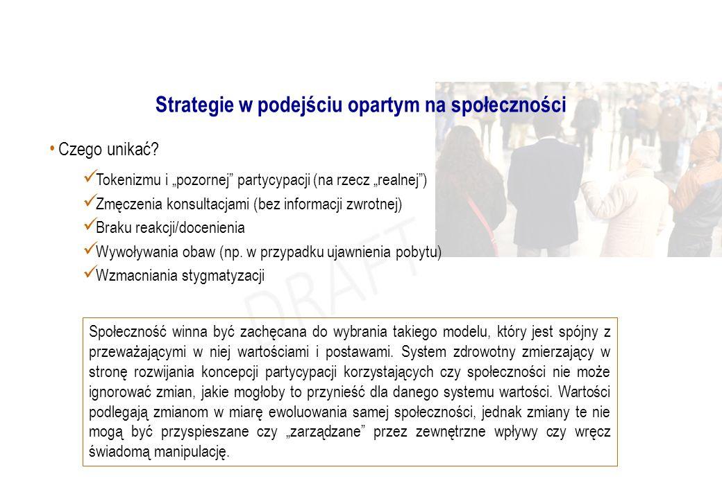 """Strategie w podejściu opartym na społeczności Czego unikać? Tokenizmu i """"pozornej"""" partycypacji (na rzecz """"realnej"""") Zmęczenia konsultacjami (bez info"""
