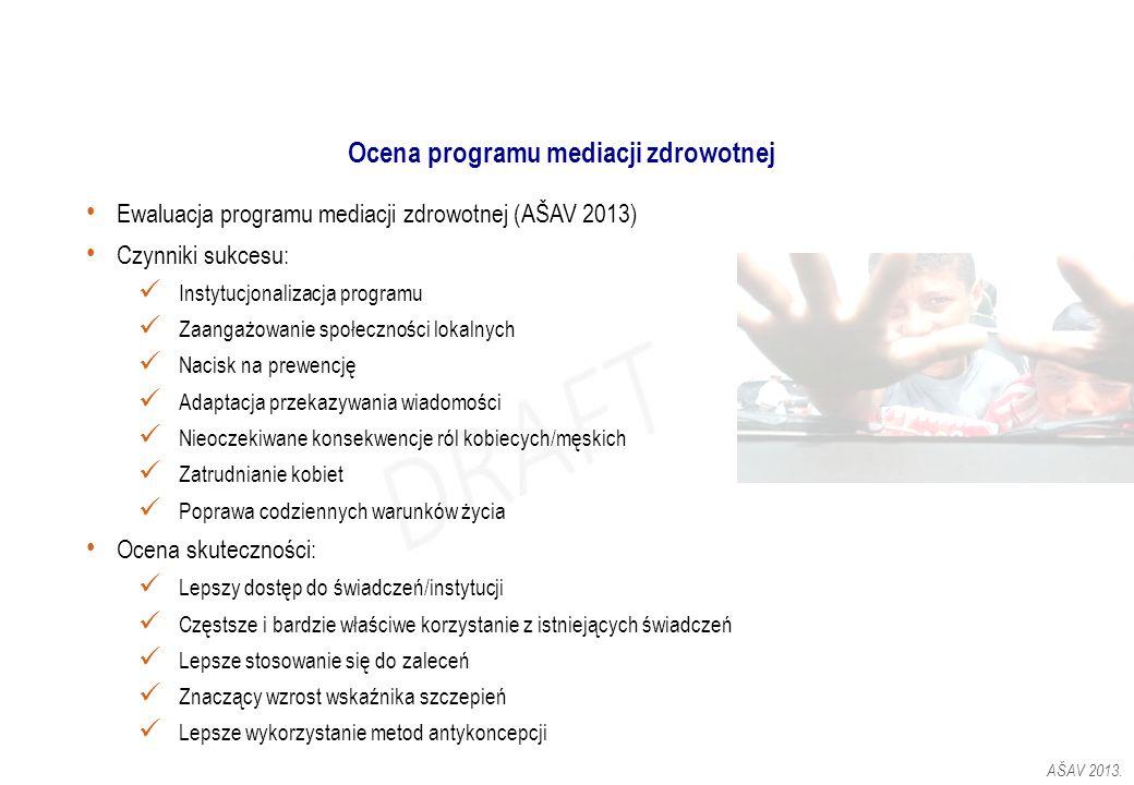 Ocena programu mediacji zdrowotnej Ewaluacja programu mediacji zdrowotnej (AŠAV 2013) Czynniki sukcesu: Instytucjonalizacja programu Zaangażowanie spo
