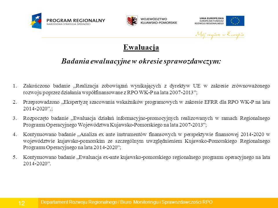 """Departament Polityki Regionalnej/ Wydział Zarządzania RPO/ Biuro Monitoringu i Sprawozdawczości RPO 12 Ewaluacja Badania ewaluacyjne w okresie sprawozdawczym: 1.Zakończono badanie """"Realizacja zobowiązań wynikających z dyrektyw UE w zakresie zrównoważonego rozwoju poprzez działania współfinansowane z RPO WK-P na lata 2007-2013 ; 2.Przeprowadzono """"Ekspertyzę szacowania wskaźników programowych w zakresie EFRR dla RPO WK-P na lata 2014-2020 ,; 3.Rozpoczęto badanie """"Ewaluacja działań informacyjno-promocyjnych realizowanych w ramach Regionalnego Programu Operacyjnego Województwa Kujawsko-Pomorskiego na lata 2007-2013 ; 4.Kontynuowano badanie """"Analiza ex ante instrumentów finansowych w perspektywie finansowej 2014-2020 w województwie kujawsko-pomorskim ze szczególnym uwzględnieniem Kujawsko-Pomorskiego Regionalnego Programu Operacyjnego na lata 2014-2020 ; 5.Kontynuowano badanie """"Ewaluacja ex-ante kujawsko-pomorskiego regionalnego programu operacyjnego na lata 2014-2020 ."""