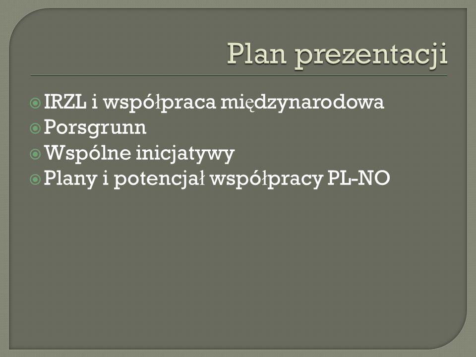  IRZL i wspó ł praca mi ę dzynarodowa  Porsgrunn  Wspólne inicjatywy  Plany i potencja ł wspó ł pracy PL-NO