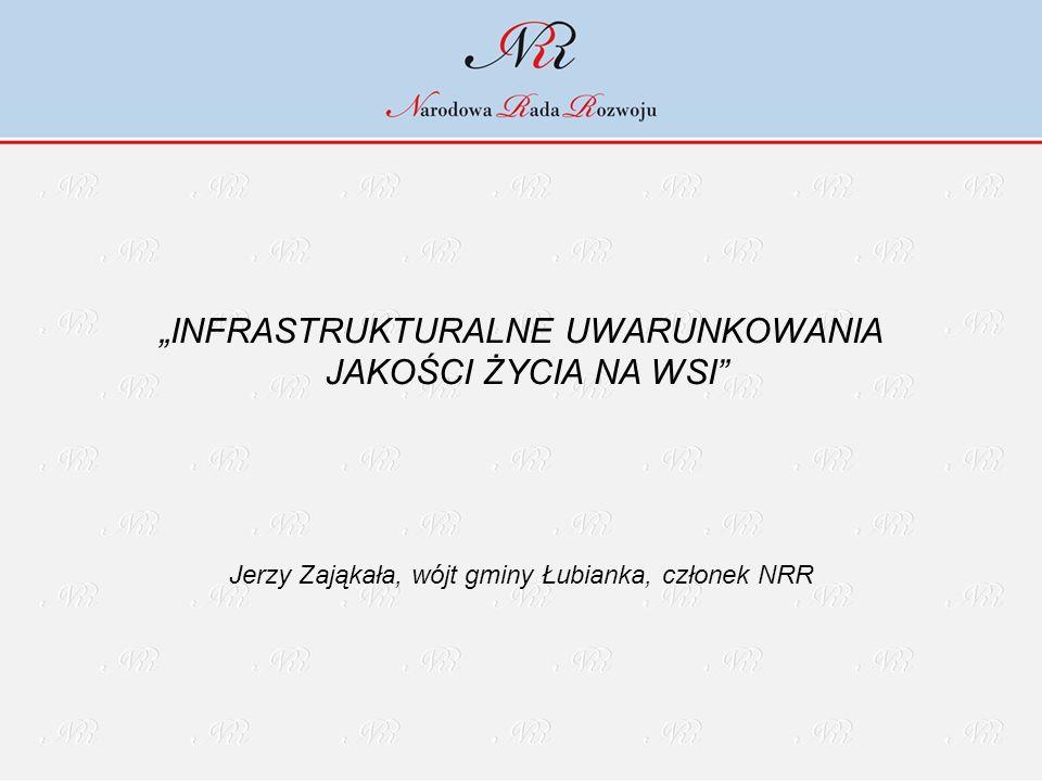 """""""INFRASTRUKTURALNE UWARUNKOWANIA JAKOŚCI ŻYCIA NA WSI"""" Jerzy Zająkała, wójt gminy Łubianka, członek NRR"""