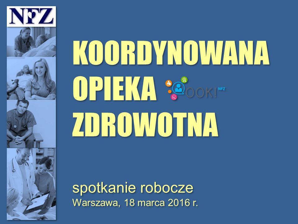 KOORDYNOWANA OPIEKA ZDROWOTNA spotkanie robocze Warszawa, 18 marca 2016 r.