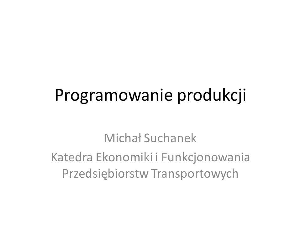 Programowanie produkcji Do badania i rozwiązywania problemów związanych z tokiem produkcji z reguły wykorzystuje się programowanie liniowe.