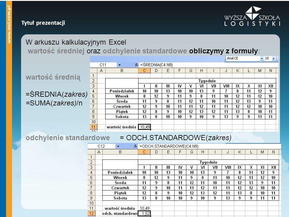 Tytuł prezentacji W arkuszu kalkulacyjnym Excel wartość średniej oraz odchylenie standardowe obliczymy z formuły: wartość średnią =ŚREDNIA(zakres) =SU