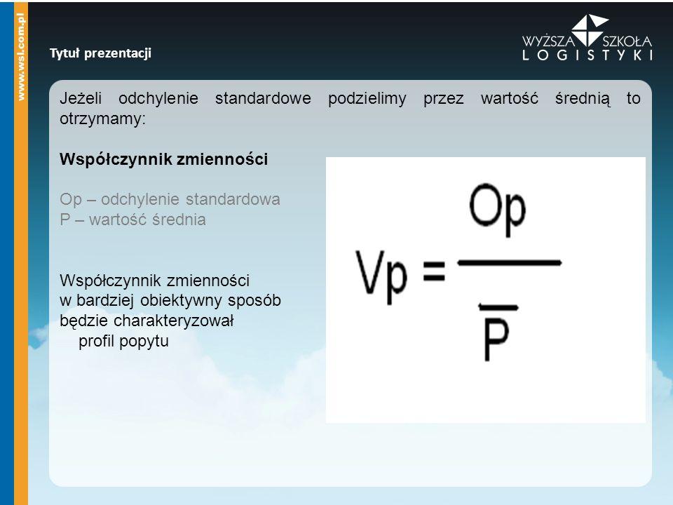Tytuł prezentacji Jeżeli odchylenie standardowe podzielimy przez wartość średnią to otrzymamy: Współczynnik zmienności Op – odchylenie standardowa P –