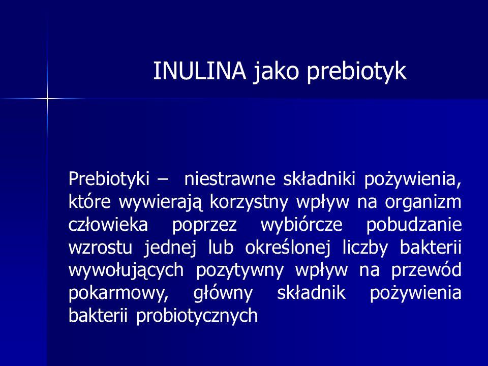 INULINA jako prebiotyk Prebiotyki – niestrawne składniki pożywienia, które wywierają korzystny wpływ na organizm człowieka poprzez wybiórcze pobudzanie wzrostu jednej lub określonej liczby bakterii wywołujących pozytywny wpływ na przewód pokarmowy, główny składnik pożywienia bakterii probiotycznych