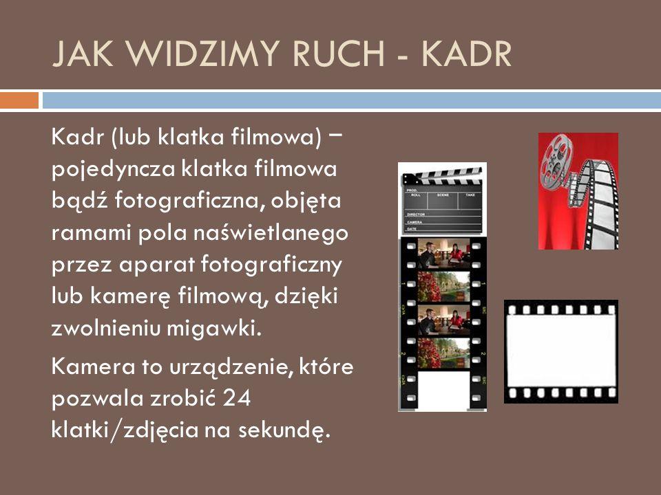 JAK WIDZIMY RUCH - KADR Kadr (lub klatka filmowa) − pojedyncza klatka filmowa bądź fotograficzna, objęta ramami pola naświetlanego przez aparat fotograficzny lub kamerę filmową, dzięki zwolnieniu migawki.