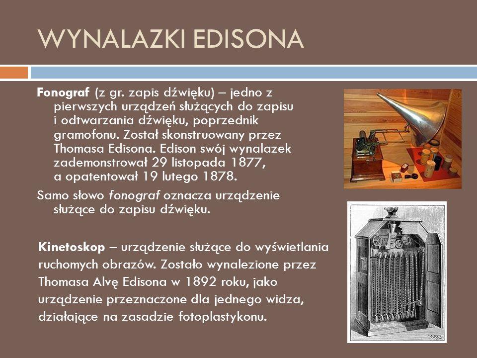 WYNALAZKI EDISONA Fonograf (z gr.