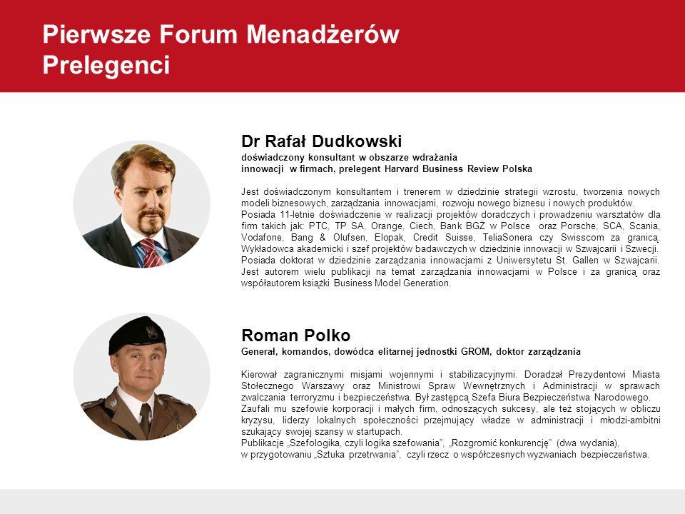 Pierwsze Forum Menadżerów Prelegenci Dr Rafał Dudkowski doświadczony konsultant w obszarze wdrażania innowacji w firmach, prelegent Harvard Business R