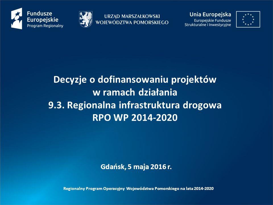 Gdańsk, 5 maja 2016 r. Decyzje o dofinansowaniu projektów w ramach działania 9.3. Regionalna infrastruktura drogowa RPO WP 2014-2020
