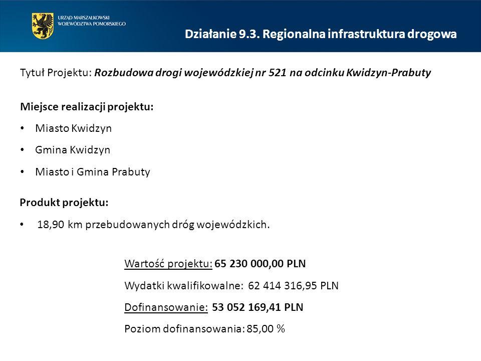Działanie 9.3. Regionalna infrastruktura drogowa Tytuł Projektu: Rozbudowa drogi wojewódzkiej nr 521 na odcinku Kwidzyn-Prabuty Miejsce realizacji pro