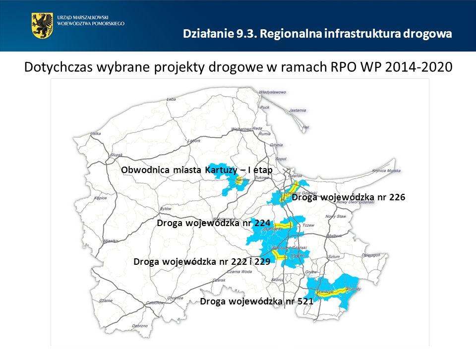 Działanie 9.3. Regionalna infrastruktura drogowa Dotychczas wybrane projekty drogowe w ramach RPO WP 2014-2020 Obwodnica miasta Kartuzy – I etap Droga