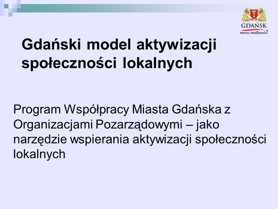 Gdański model aktywizacji społeczności lokalnych Program Współpracy Miasta Gdańska z Organizacjami Pozarządowymi – jako narzędzie wspierania aktywizacji społeczności lokalnych