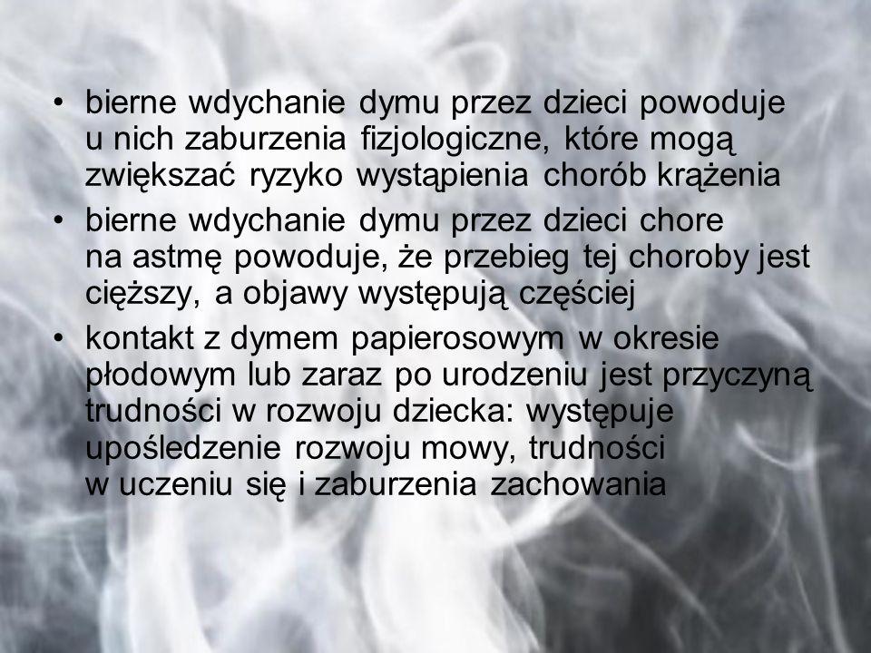 bierne wdychanie dymu przez dzieci powoduje u nich zaburzenia fizjologiczne, które mogą zwiększać ryzyko wystąpienia chorób krążenia bierne wdychanie