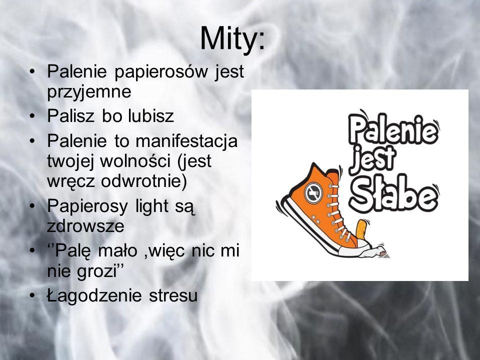 Mity: Palenie papierosów jest przyjemne Palisz bo lubisz Palenie to manifestacja twojej wolności (jest wręcz odwrotnie) Papierosy light są zdrowsze ''