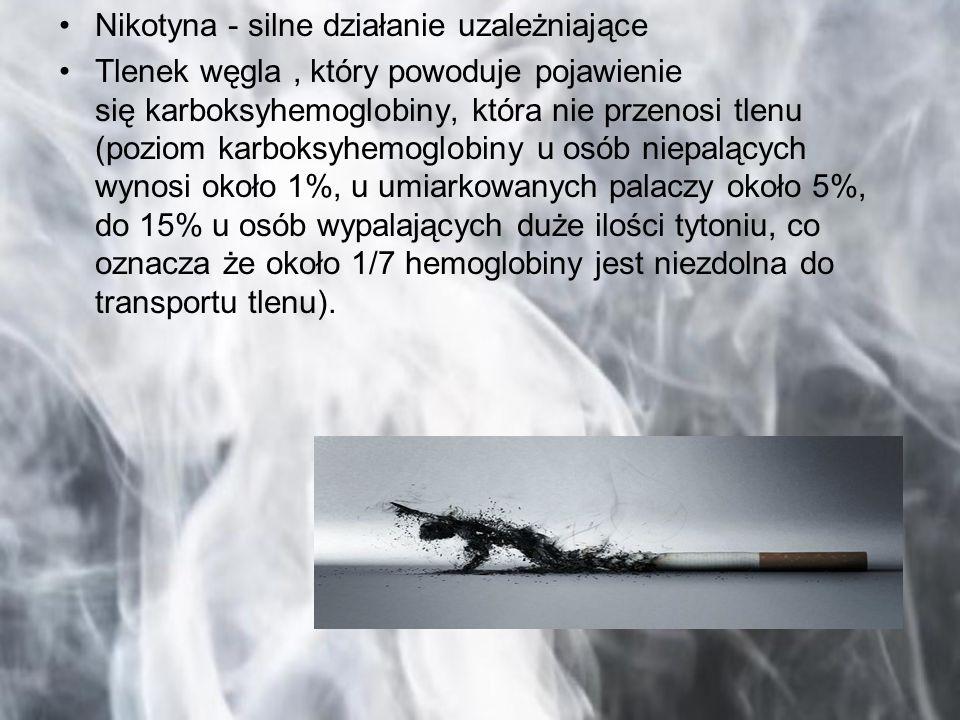 Nikotyna - silne działanie uzależniające Tlenek węgla, który powoduje pojawienie się karboksyhemoglobiny, która nie przenosi tlenu (poziom karboksyhem