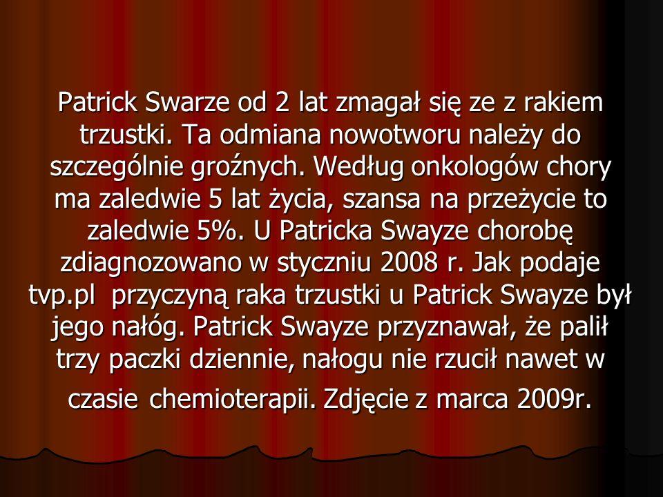 Patrick Swarze od 2 lat zmagał się ze z rakiem trzustki.