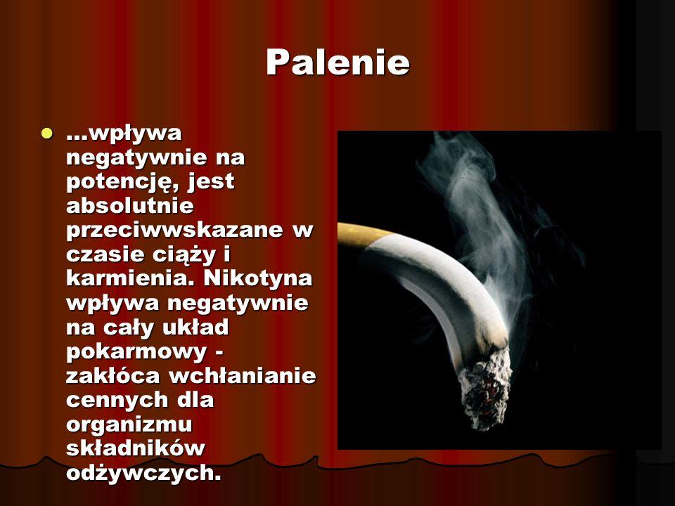 Palenie …wpływa negatywnie na potencję, jest absolutnie przeciwwskazane w czasie ciąży i karmienia.