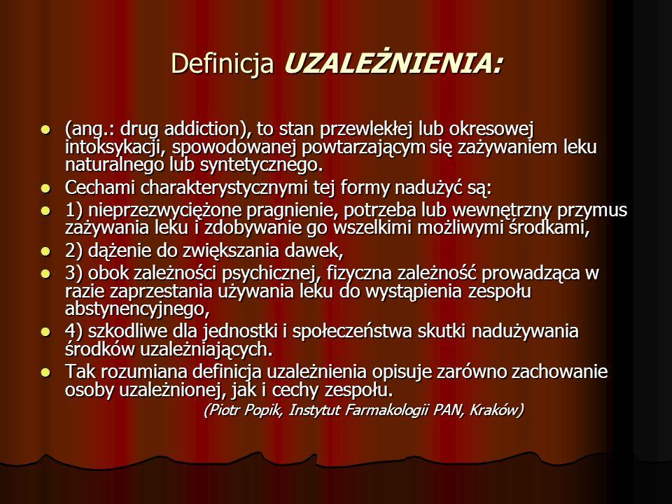 Definicja UZALEŻNIENIA: (ang.: drug addiction), to stan przewlekłej lub okresowej intoksykacji, spowodowanej powtarzającym się zażywaniem leku naturalnego lub syntetycznego.