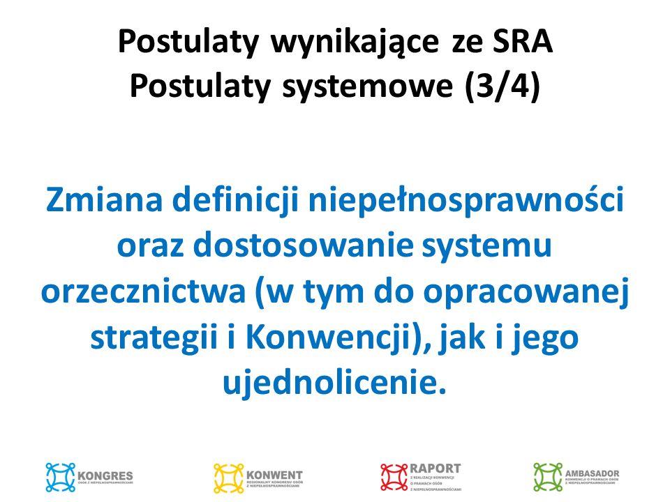 Postulaty wynikające ze SRA Postulaty systemowe (3/4) Zmiana definicji niepełnosprawności oraz dostosowanie systemu orzecznictwa (w tym do opracowanej strategii i Konwencji), jak i jego ujednolicenie.