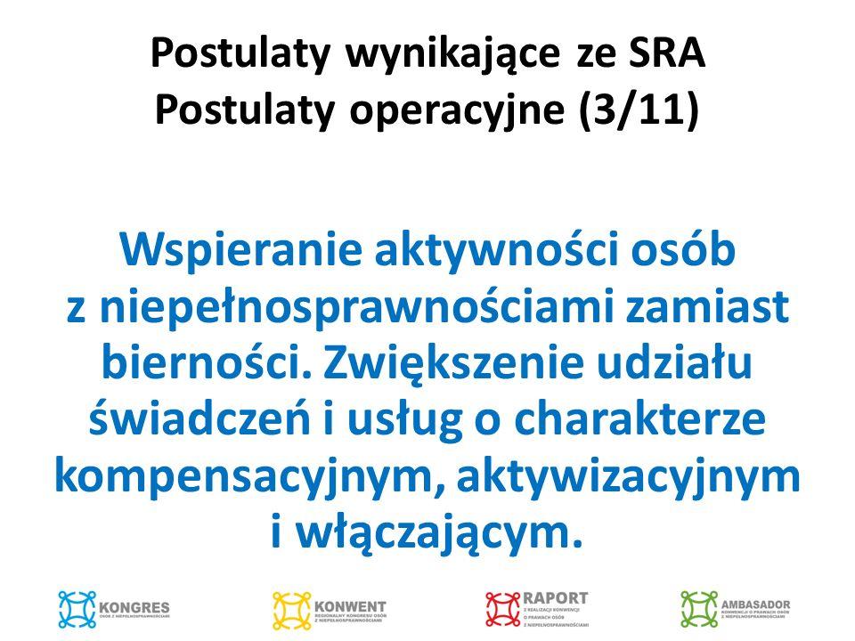 Postulaty wynikające ze SRA Postulaty operacyjne (3/11) Wspieranie aktywności osób z niepełnosprawnościami zamiast bierności.