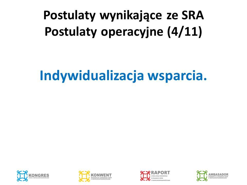 Postulaty wynikające ze SRA Postulaty operacyjne (4/11) Indywidualizacja wsparcia.