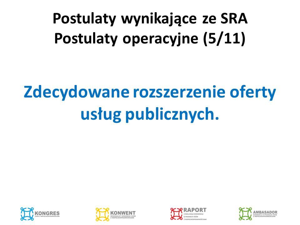 Postulaty wynikające ze SRA Postulaty operacyjne (5/11) Zdecydowane rozszerzenie oferty usług publicznych.