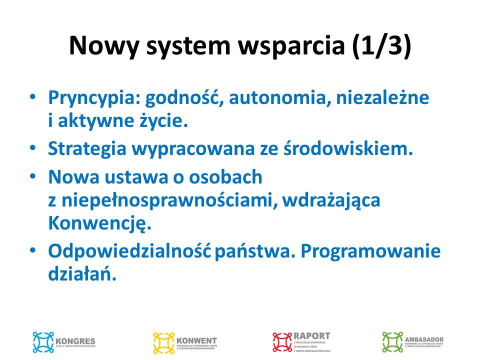Nowy system wsparcia (1/3) Pryncypia: godność, autonomia, niezależne i aktywne życie.