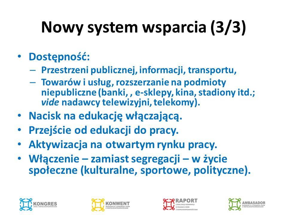 Nowy system wsparcia (3/3) Dostępność: – Przestrzeni publicznej, informacji, transportu, – Towarów i usług, rozszerzanie na podmioty niepubliczne (banki,, e-sklepy, kina, stadiony itd.; vide nadawcy telewizyjni, telekomy).