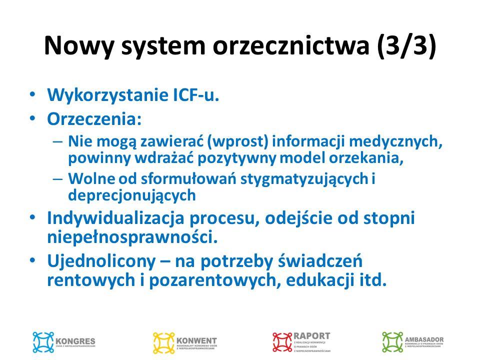 Nowy system orzecznictwa (3/3) Wykorzystanie ICF-u.