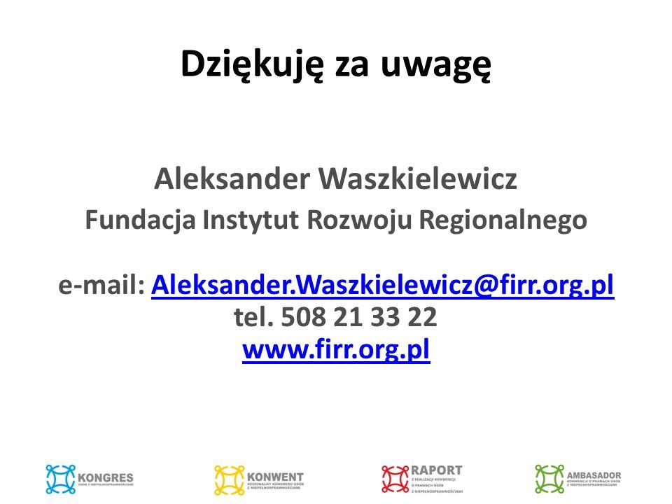 Dziękuję za uwagę Aleksander Waszkielewicz Fundacja Instytut Rozwoju Regionalnego e-mail: Aleksander.Waszkielewicz@firr.org.pl tel.