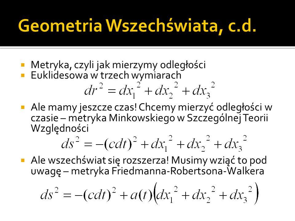  Metryka, czyli jak mierzymy odległości  Euklidesowa w trzech wymiarach  Ale mamy jeszcze czas.