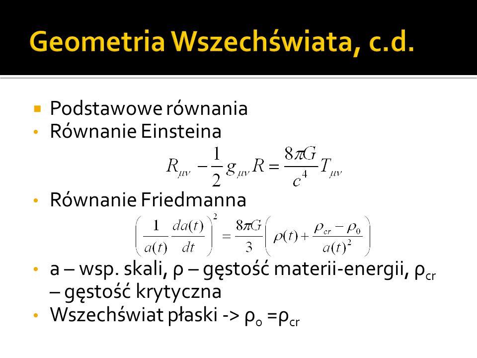  Podstawowe równania Równanie Einsteina Równanie Friedmanna a – wsp.
